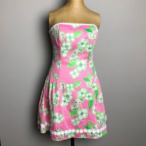 lilly puitzer pink butterfly floral blossom dress